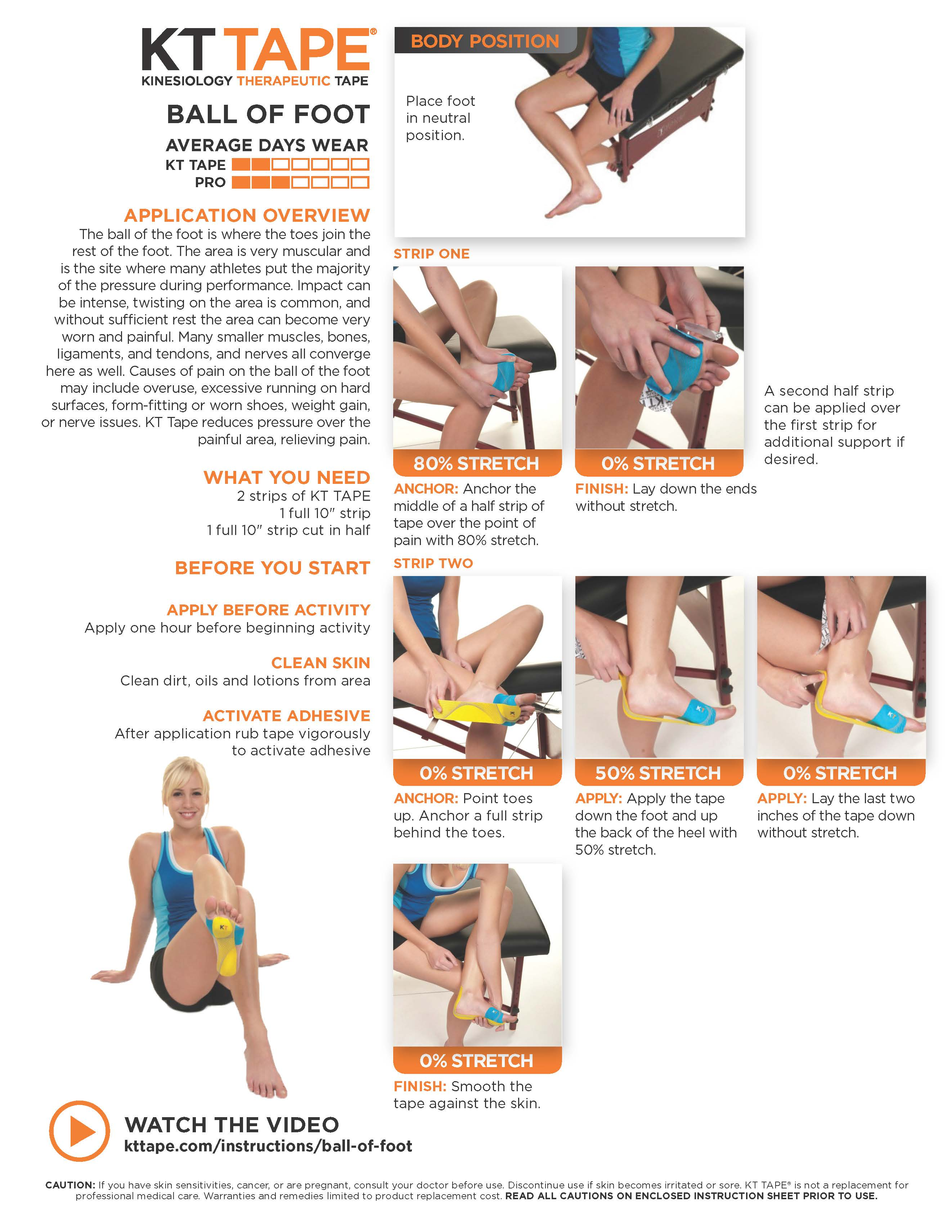 6192bb9eb6 Ball of Foot Pain - KT Tape • TheraTape Education Center